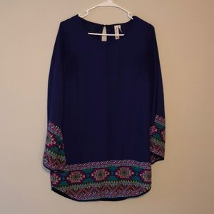 Purple and tribal print dress